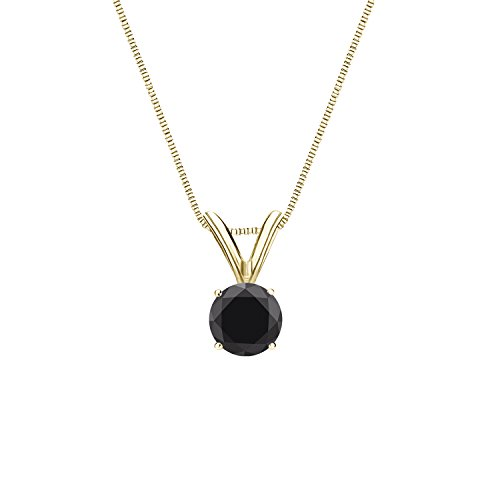 Diamond Wish 14k Yellow Gold Round Black Diamond Solitaire Pendant Necklace (1/2 carat TW, Black) 4-Prong Basket, 18-inch Box Chain