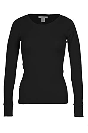 Bozzolo Women's RT1205 Waffle Thermal Long Sleeve Crew Neck T Shirt Black Small