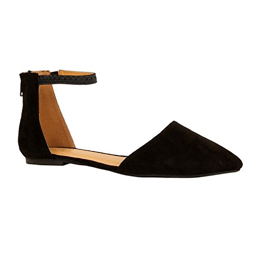 Guilty Heart Womens D'Orsay Ankle Strap Almond Pointed Toe Comfortable Suede Flats Flats, Black Suede, 9 B(M) US Strap Almond