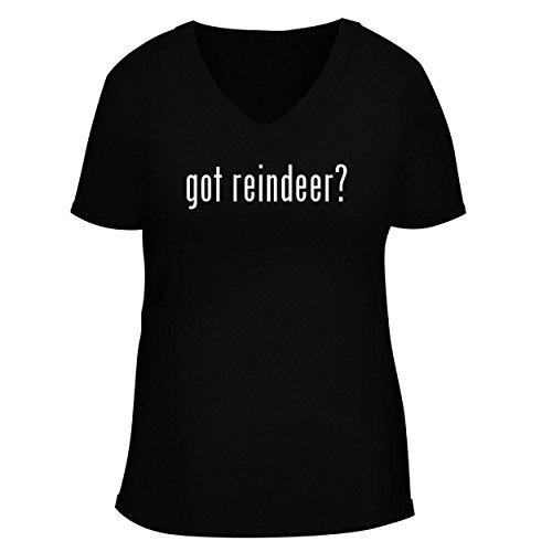 Spun Glass Reindeer (BH Cool Designs got Reindeer? - Cute Women's V Neck Graphic Tee, Black, Medium)