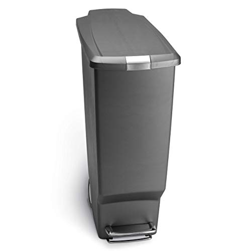 simplehuman 40 Liter / 10.6 Gallon Slim Kitchen Step Trash Can, Grey Plastic with Secure Slide Lock (Trash Can With Step Lid Plastic)
