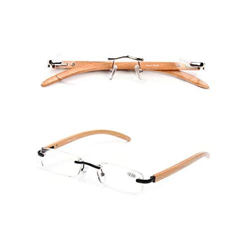 FidgetFidget Bamboo Wood Rimless Metal Eyeglasses +1.0 to +3.5 Mens Womens Reading Glasses TR +2.00 Strength ()