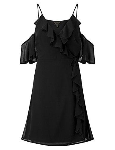 Lipsy Mujer Vestido Cruzado Volantes Hombros Descubiertos Corte Regular Negro