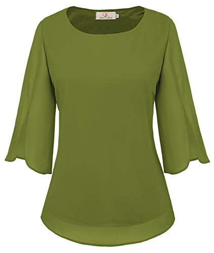 Simple Plain Half Petal Sleeve Chiffon Blouse Casual Tops Size XL Army Green from GRACE KARIN