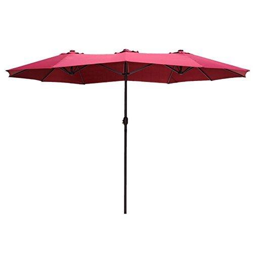 Le Papillon 14 ft Market Outdoor Umbrella Double-Sided Aluminum Table Patio Umbrella with Crank, Burgundy