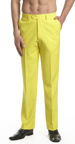 Yellow Colour - CONCITOR Men's Dress Pants Trousers Flat Front Slacks Solid YELLOW Color 36