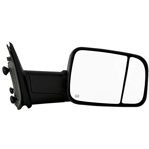 (Make Auto Parts Manufacturing Passenger Side Textured Black Manual Folding Power Operated Heated Towing Door Mirror for Dodge Ram 1500/2500/3500 2010 / Ram 1500/2500/3500 2011-2012 -)