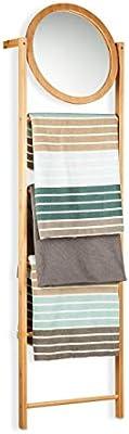 Relaxdays Toallero Escalera con Espejo y 4 Barras, Bambú, Beige, 160 x 45 x 15 cm: Amazon.es: Hogar