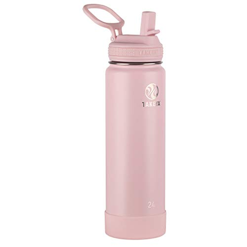 Takeya Actives Insulated Stainless Steel Water Bottle with Straw Lid, 24 oz, Blush
