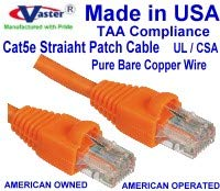 52 Ft RJ45 Computer Networking Cord - UL cm and 100/% Copper. 24AWG, 50u Gold Plating Made in USA, Cat5e Ethernet Patch Cable Orange