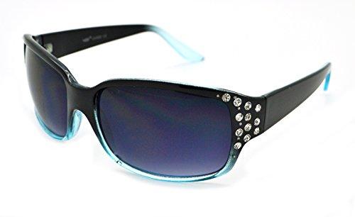 VOX Trendy Classic Womens Hot Fashion Rhinestones Sunglasses w/FREE Microfiber Pouch - Black/Blue Frame - Smoke Lens