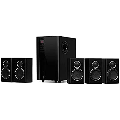 AUNA Areal Touch 5 1 Speaker System Surround Edition  Sound System  200 Watts max  OneSide Bass Reflex Subwoofer  Touch Display  Bluetooth  USB  SD  incl  Remote Control  Black