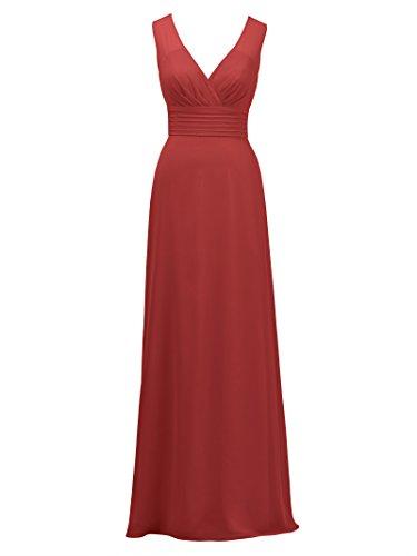 Alicepub V-cou Robe Longue Robe De Demoiselle D'honneur En Mousseline De Soie Soirée De Fête Nuptiale Rouge Robe De Bal