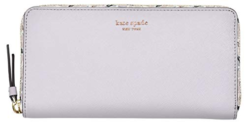 Kate Spade New York Laurel Way Neda Saffiano Leather Zip Around Wallet (Black) (Icy Lavender Floral), Medium