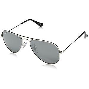 Ray-Ban Kids' 0rj9506s212/6g52junior Non-Polarized Iridium Aviator Sunglasses, Shiny Silver, 52 mm
