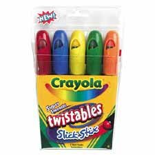Crayola LLC Products - Slick Stix Crayon, Twistable, 5/BX, BE, GN, YW, RD, OE - Sold as 1 BX - Super smooth Twistables are designed to glide across the page for a fun new coloring experience five different rich, brilliant colors (blue, green, yellow, red, orange). Durable plastic barrel provides protection for core. Child-safe snap on cap prevents drying. A simple twisting motion of the barrel advances the stick eliminating the need for sharpening and label peeling. Reusable storage pouch. -