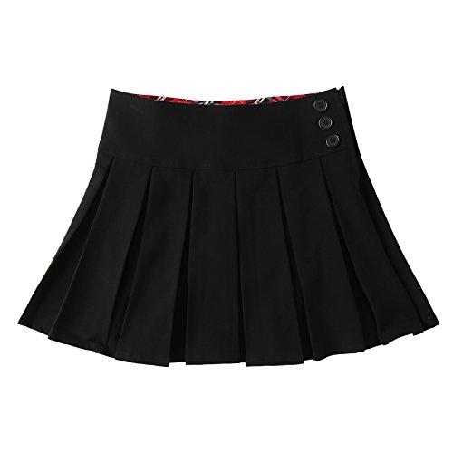 Bienzoe Girl's Stretchy Pleated Adjustable Waist School Uniforms Skirt Black 5