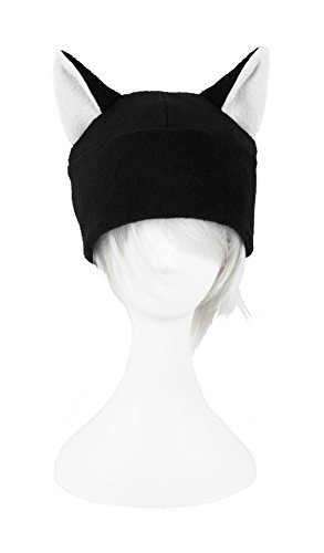 Mrawp Womens Black Fleece Beanie Cat Hat  Black With White
