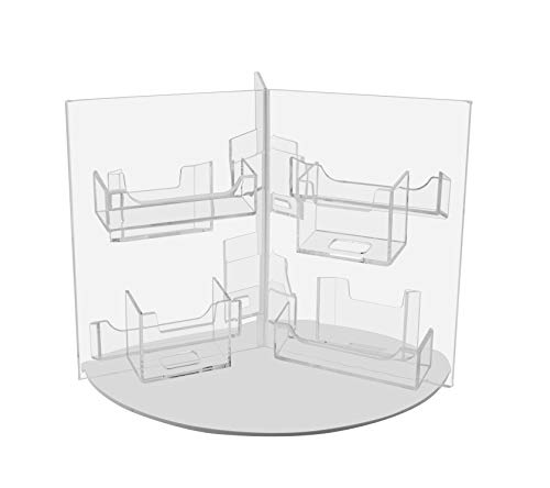 Marketing Holders Multi Pocket Rotating Business Card Holder Countertop Display Clear Premium Acrylic Spinning Stand 12 Pocket Qty 1