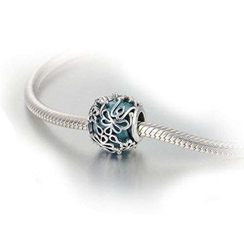 Turquoise Teal Blue Murano Glass & Sterling Silver Flower Charm Bead S925, Blue Glass Silver Flower Charm Bead pendant, Princess Cinderella charm Jewelry, Floral Charm Jewellery Pandora (Sterling Silver Turquoise Accent)