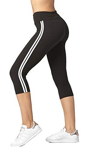 Super Soft High Waisted Leggings for Women - Capri Stripe Black - Large/X-Large (12-22) - ()