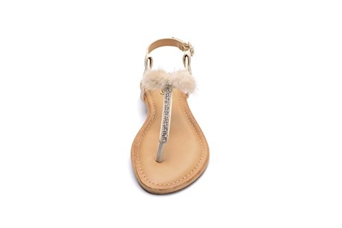 with Shimmering Fur Mila Embellished Lady Sandals Beautiful LACI Nude with Rhinestone 1 Women's R4zWnAzx