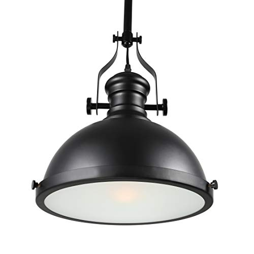 - BAYCHEER HL371268 Industrial Retro Iron Light Bulb Country Painting Large Pendant Light Fixture Ceiling Lamp Chandelier with 1 Light Black