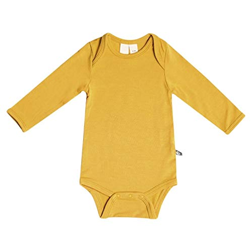 KYTE BABY Organic Bamboo Rayon Bodysuit - Long Sleeve Unisex Bodysuit Available in a Rainbow of Colors (0-3 Months, Mustard)
