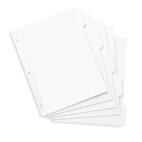 Blue Summit Supplies 3 Ring Binder Dividers with Reinforced Edge, 1/5 Cut Tabs, Letter Size, 3 Hole Punch Section Index Dividers for Binders, White, 100 ()