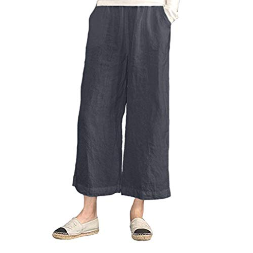 iYYVV Womens Elastic Waist Casual Cotton Linen Loose Trousers Cropped Wide Leg Pants Gray ()