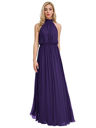 Bridesmaid Women for Chiffon Evening Party Long Maxi Alicepub Dress Neck Eggplant High Dresses 8BAwYXq