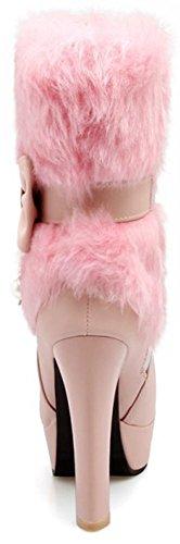 Idifu Womens Dressy Pelliccia Soffice Punta A Punta Pull On High Block Tallone Piattaforma Stivali Alti Alla Caviglia Con Fiocchi Rosa