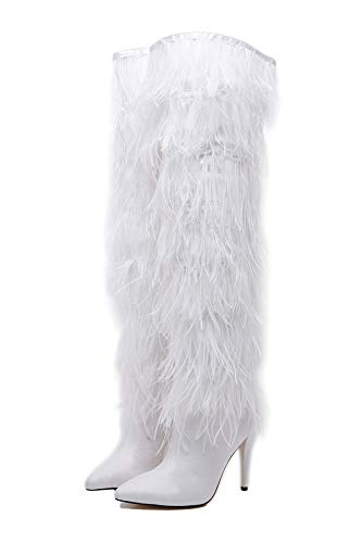 Stupmary Women Over The Knee High Boots Ostrich Feather Pointed Toe Stilleo High Heeled Thigh High ()