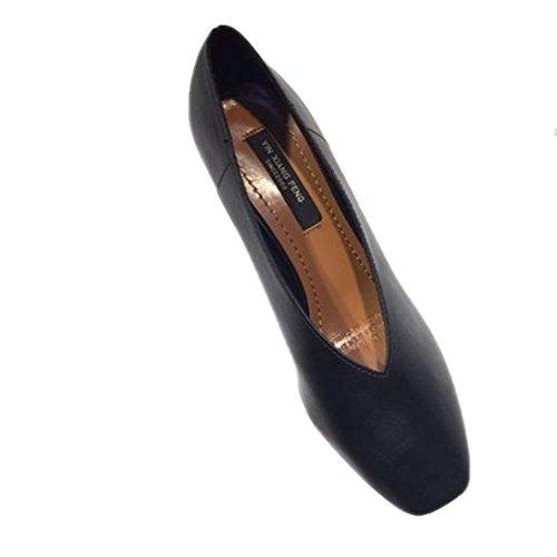 áspera casual con cabeza cuadrada baja de la boca con los zapatos bajos de cuero zapatos de cuero suave y cómodo individuales Black