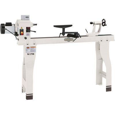 Shop Fox W1758 Wood Lathe With Cast Iron Legs And Digital Readout by Shop Fox