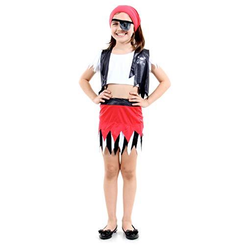Pirata Feminino Infantil Sulamericana Fantasias M 6/8 Anos
