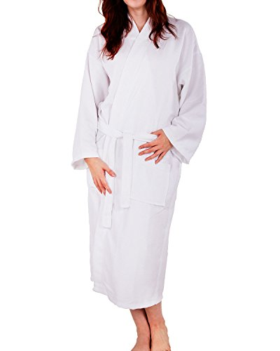 Robe Diamond (100% Cotton Waffle Weave Robe Kimono Spa Bathrobe Made in Turkey Diamond Pattern Unisex (White, Small / Medium))