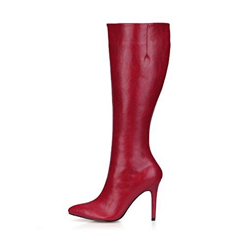 Rosso Punto E Signore Rosso Caric Grande Stivali Inverno Ragazza Sottili Scarpe Nuovo È Alta Vino Vino Il Tacco Alto q7HRwXxH