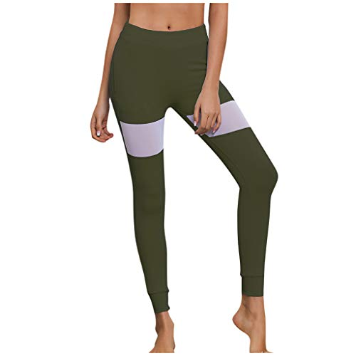 (KLGDA Fashion Women's Sport Tights Solid Color High Waist Yoga Pants Casual Elastic Leggings Army Green)