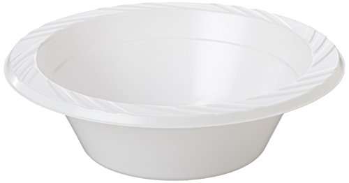 Genuine Joe GJO10424 Plastic Reusable/Disposable Bowl, 12-Ounce Capacity (Pack of 125) 12 Oz White Plastic Bowl