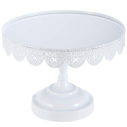 Decorative Cake Stand 10 Inch Round Metal Cupcake Pedestal with Hollow Pattern Rims Dessert Fruit Display Serving Plate for Wedding Birthday Tea Party Christmas Holiday Bridal Shower Favor Gift ()