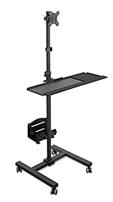 Mount-It! Computer Mobile Monitor Cart, Standing Rolling CPU Tower Workstation, Height Adjustable Monitor Mount and Keyboard Tray (MI-7948)