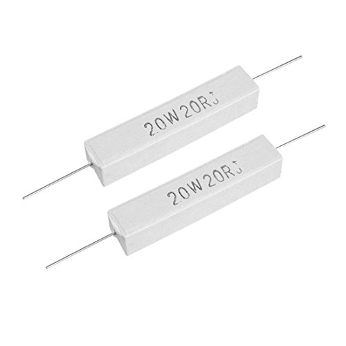 uxcell 20W 20 Ohm Power Resistor Ceramic Cement Resistor Axial Lead White 2pcs ()