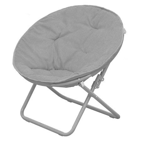 Polyester Fabric Content American Kids Bedding WK656330 Solid Faux-Fur Saucer Chair Grey