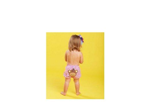 Mud Pie Newborn-Baby Girls Monkey Diaper Cover Pink, 0-12