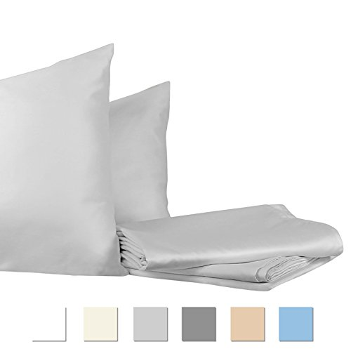 INDIGO FINE LINENS, 700 Thread Count, 100% Pure Cotton, Sateen Weave Bedsheets, Quality Luxury Bedding, Fits Upto 15 inches Deep Pockets, Hotel Collection (Queen, Cloud) ()