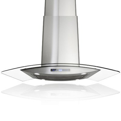 AKDY AIR88CS1436 36'' Island Mount Ducted Range Hood with 870 CFM Motor 3 Speed Fan Levels Touch Control Panel LED Lighting Dishwasher Safe Filter Curved Tempered Glass and Stainless Steel