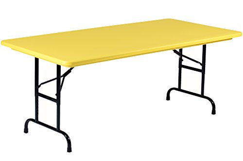 "Correll R Series Adjustable Plastic Folding Table, 30"" x 72"", Brilliant Yellow"