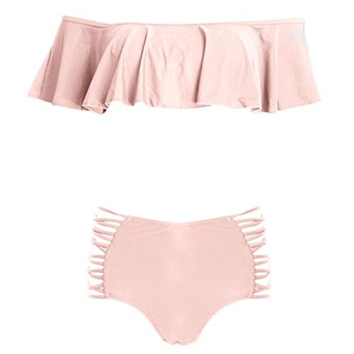 Mujer Cintura Alta Push-Up Bikini Set Trajes de Baño Bikini de Playa Bañador Pink