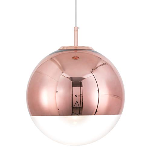 Mzithern Modern Mini Globe Pendant Lighting with Hand-Blown Clear Glass,Adjustable Glass Mirror Ball Pendant Lamp for Living Room Kitchen Island Hallways Bar Cafe,Polished Copper Finish,Copper 8in